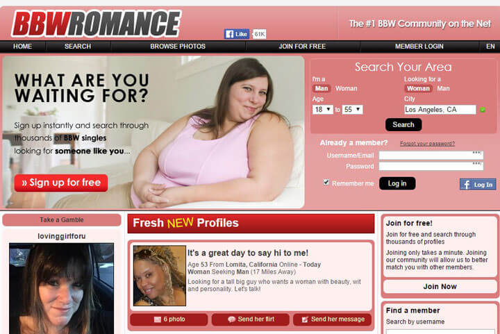 BBW Romance homepage
