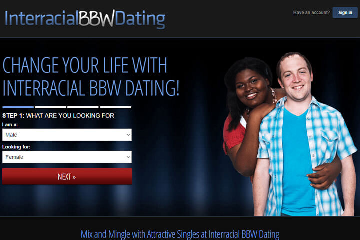 Interracial BBW Dating homepage