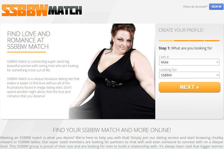 SSBBW Match homepage