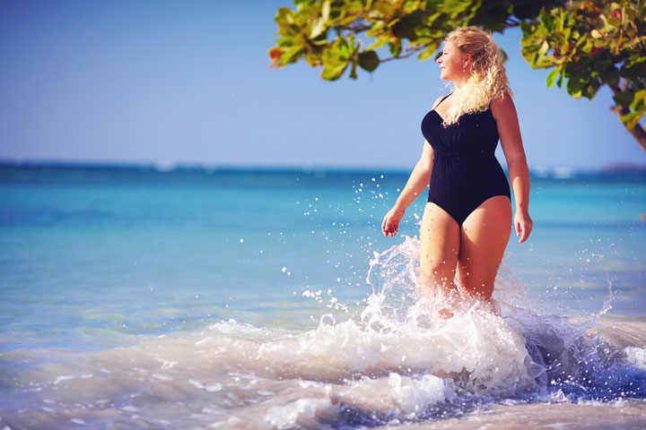 young plus size woman in swimwear